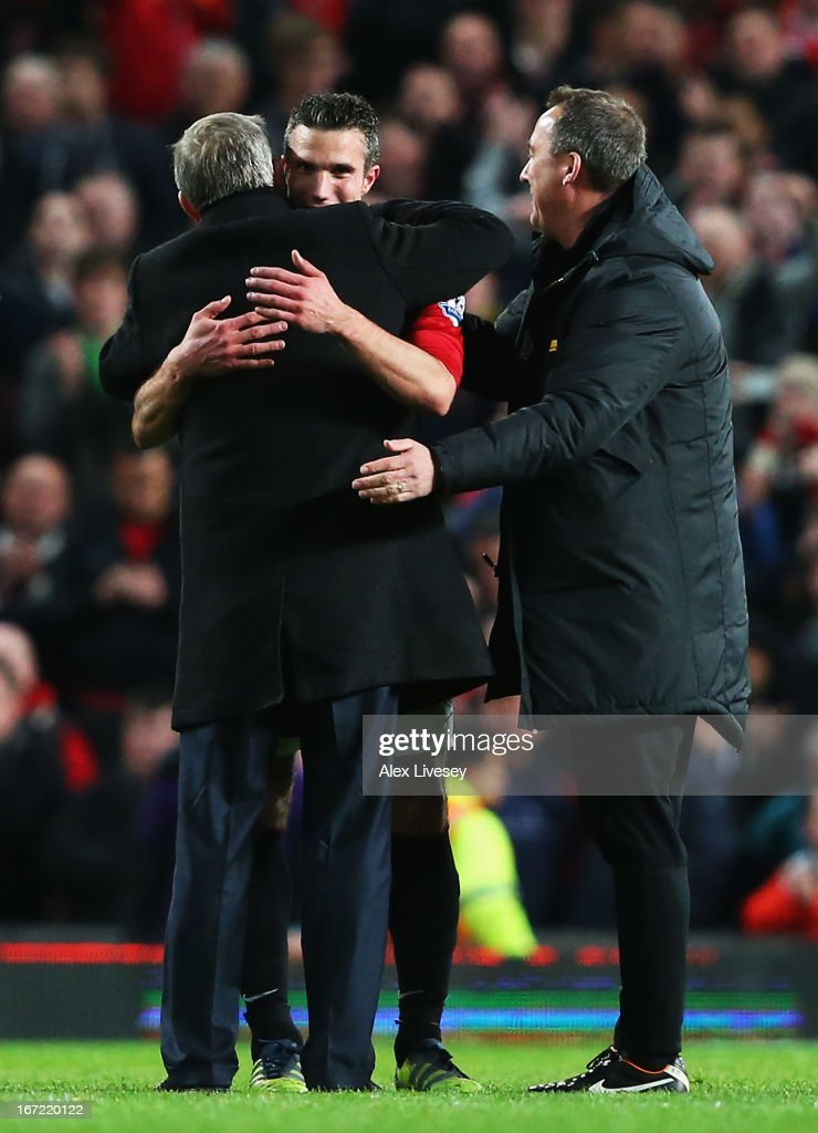 Sir <a gi-track='captionPersonalityLinkClicked' href=/galleries/search?phrase=Alex+Ferguson&family=editorial&specificpeople=203067 ng-click='$event.stopPropagation()'>Alex Ferguson</a>, manager of Manchester United celebrates victory and winning the Premier League title with Robin van Persie after the Barclays Premier League match between Manchester United and Aston Villa at Old Trafford on April 22, 2013 in Manchester, England.