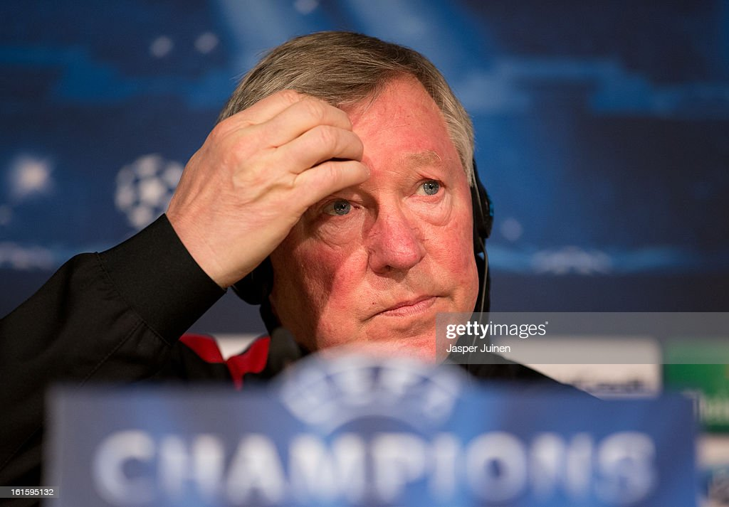 Sir <a gi-track='captionPersonalityLinkClicked' href=/galleries/search?phrase=Alex+Ferguson&family=editorial&specificpeople=203067 ng-click='$event.stopPropagation()'>Alex Ferguson</a>, manager of Manchester United, listens to questions from the media during a press conference ahead of the UEFA Champions League match between Real Madrid CF and Manchester United at the Valdebebas training ground on February 12, 2013 in Madrid, Spain.