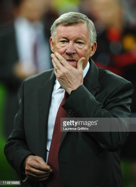 Sir Alex Ferguson manager of Manchester United shows his dejection after the UEFA Champions League final between FC Barcelona and Manchester United...