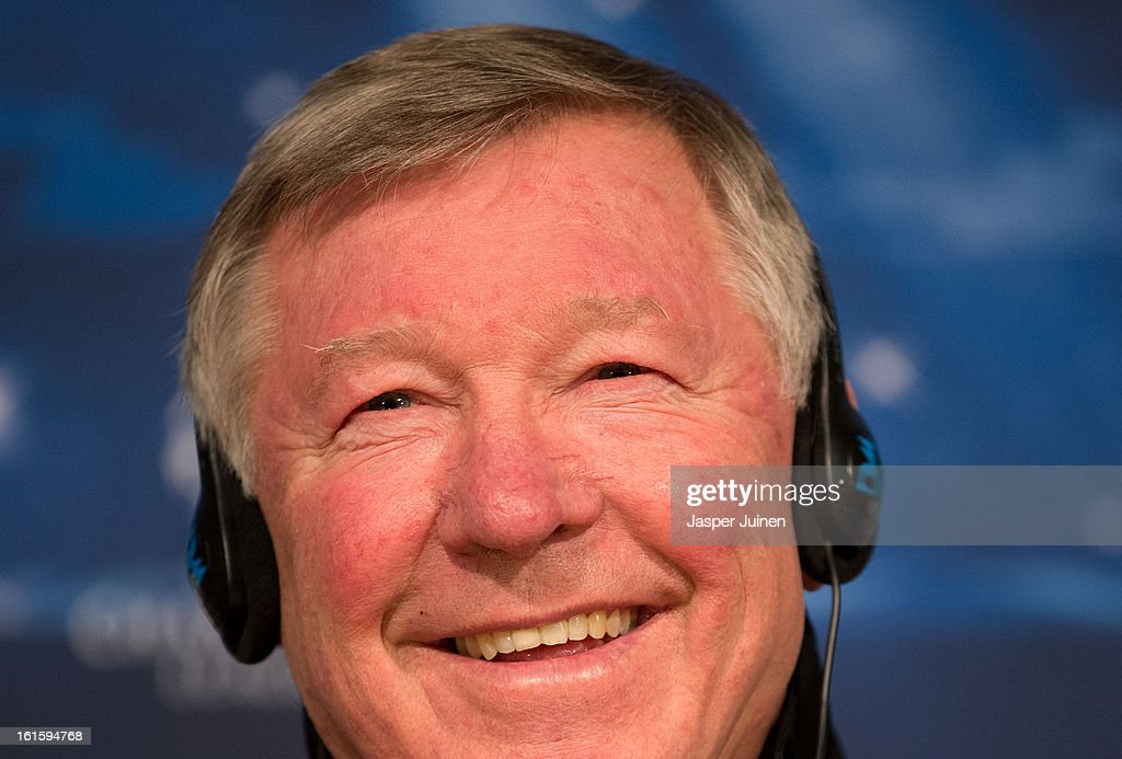 Sir <a gi-track='captionPersonalityLinkClicked' href=/galleries/search?phrase=Alex+Ferguson&family=editorial&specificpeople=203067 ng-click='$event.stopPropagation()'>Alex Ferguson</a>, manager of Manchester United, smiles as he listens to questions from the media during a press conference ahead of the UEFA Champions League match between Real Madrid CF and Manchester United at the Valdebebas training ground on February 12, 2013 in Madrid, Spain.