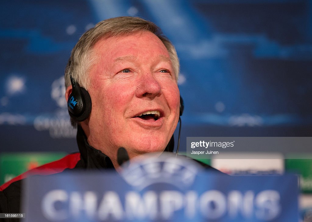 Sir <a gi-track='captionPersonalityLinkClicked' href=/galleries/search?phrase=Alex+Ferguson&family=editorial&specificpeople=203067 ng-click='$event.stopPropagation()'>Alex Ferguson</a>, manager of Manchester United, speaks to the media during a press conference ahead of the UEFA Champions League match between Real Madrid CF and Manchester United at the Valdebebas training ground on February 12, 2013 in Madrid, Spain.