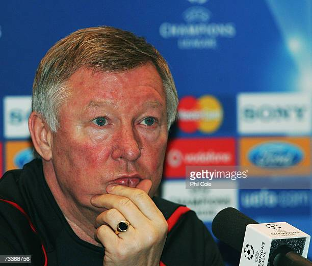 Sir Alex Ferguson Manager of Manchester United speaks to the media during a press conference at the Gaillette training Centre on February 19 2007 in...