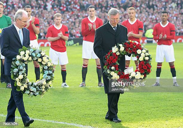 Sir Alex Ferguson of Manchester United and SvenGoran Eriksson of Manchester City lay wreaths in memory of the 23 victims of the Munich Air Disaster...