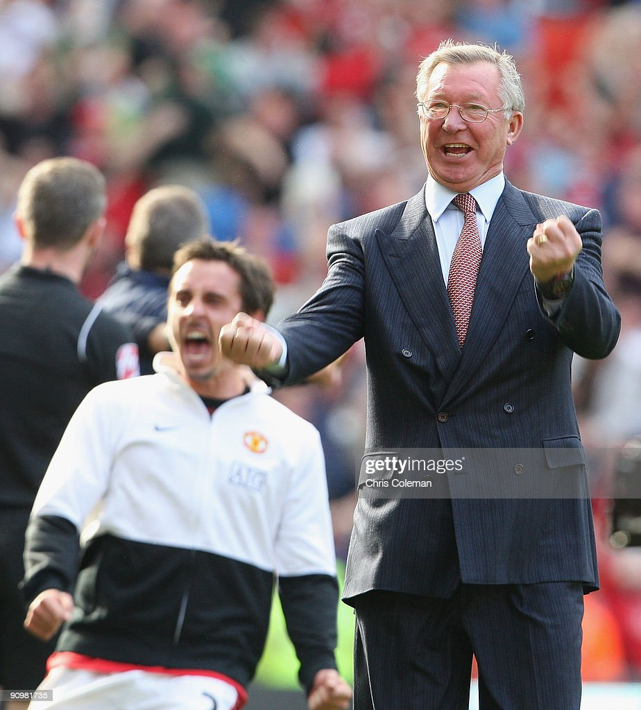 Sir Alex Ferguson of Manchester United celebrates after the FA Barclays Premier League match between Manchester United and Manchester City at Old Trafford on September 20 2009 in Manchester, England.