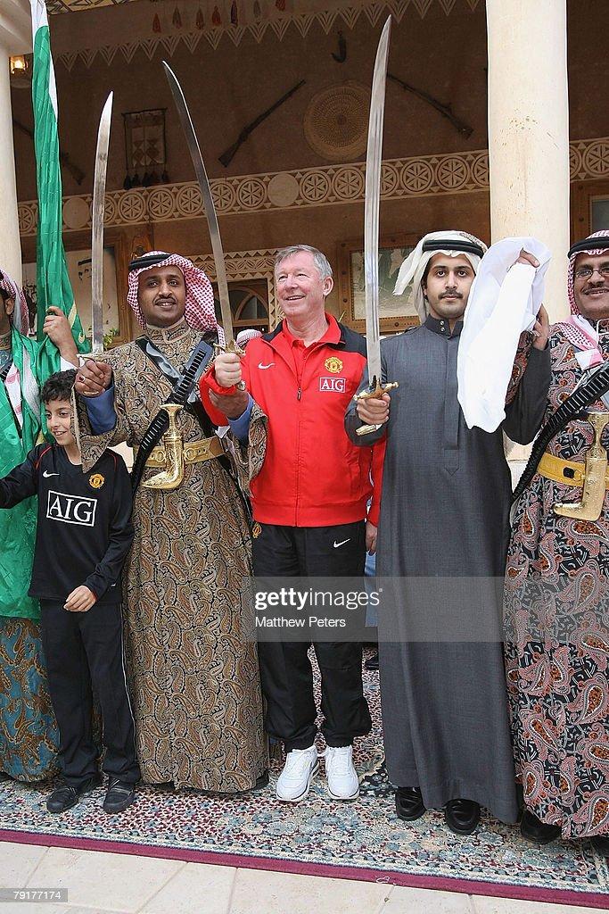 Sir Alex Ferguson of Manchester United dances at the palace of HRH Prince Abdullah bin Mosa'ad bin Abdullaziz on January 23 2008, in Riyadh, Saudi Arabia.