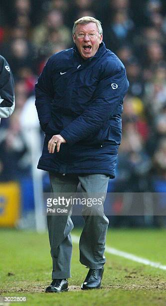 Sir Alex Ferguson of Manchester United shouts at the referee during the FA Barclaycard Premiership match between Fulham and Manchester United at...