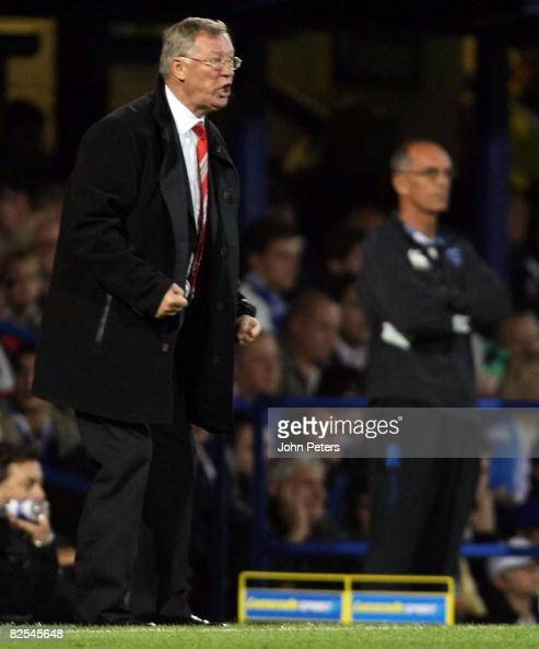 Sir Alex Ferguson of Manchester United shouts instructions from the touchline during the FA Premier League match between Portsmouth and Manchester...