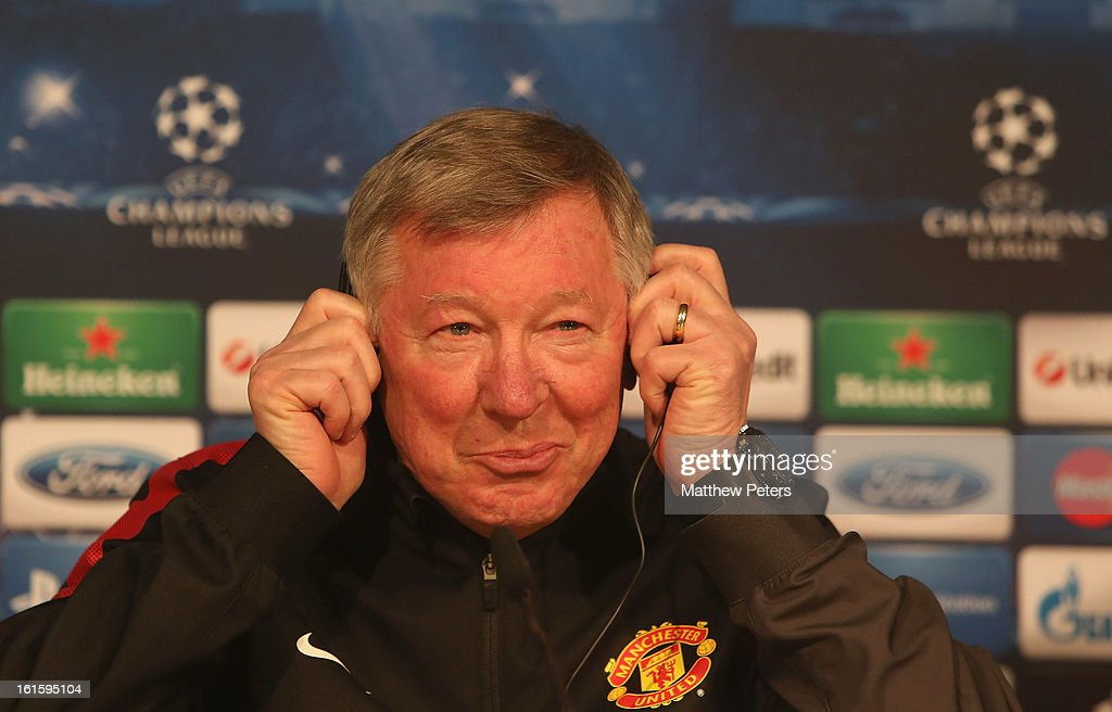 Sir <a gi-track='captionPersonalityLinkClicked' href=/galleries/search?phrase=Alex+Ferguson&family=editorial&specificpeople=203067 ng-click='$event.stopPropagation()'>Alex Ferguson</a> of Manchester United speaks at a press conference ahead of their UEFA Champions League Round of 16 first leg match against Real Madrid at the Santiago Bernabeu on February 12, 2013 in Madrid, Spain.
