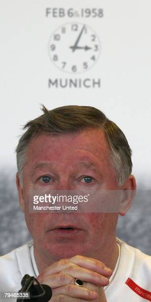 Sir Alex Ferguson of Manchester United speaks during a press conference concerning the 50th anniversary of the Munich Air Disaster at Carrington...