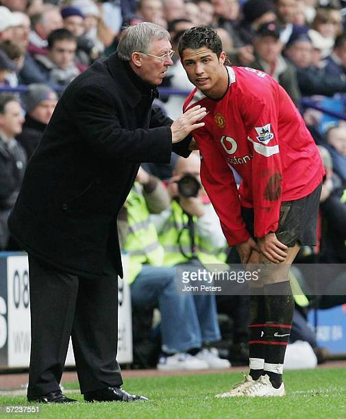Sir Alex Ferguson of Manchester United talks to Cristiano Ronaldo during the Barclays Premiership match between Bolton Wanderers and Manchester...