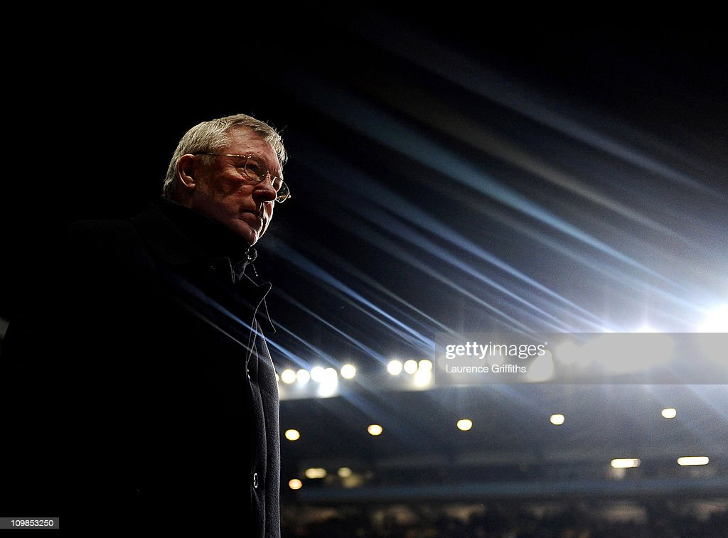 Sir Alex Ferguson of Manchester United walks out during the Barclays Premier League match between Aston Villa and Manchester United at Villa Park on February 10, 2010 in Birmingham, England.