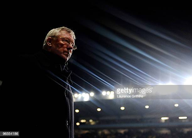 Sir Alex Ferguson of Manchester United walks out during the Barclays Premier League match between Aston Villa and Manchester United at Villa Park on...