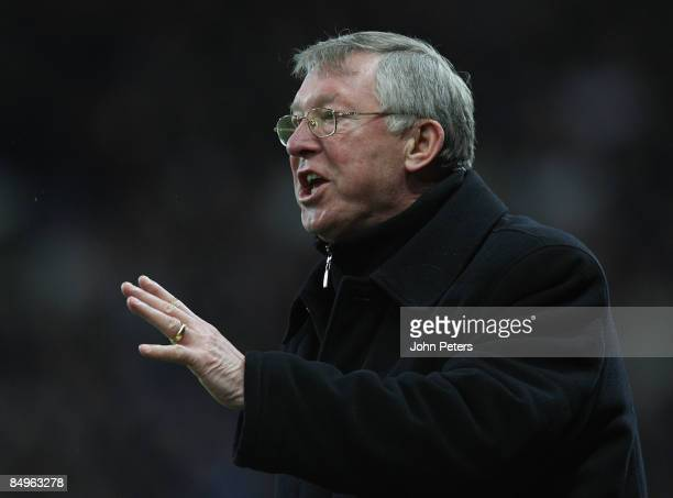 Sir Alex Ferguson of Manchester United watches from the touchline during the Barclays Premier League match between Manchester United and Blackburn...
