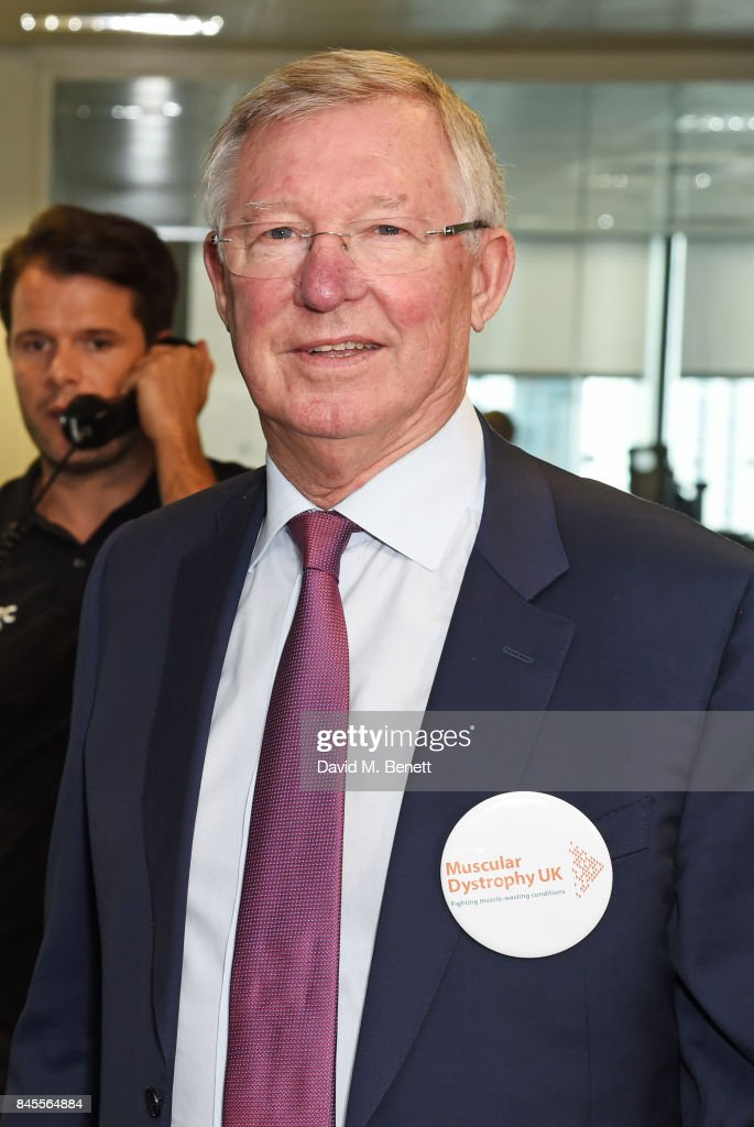 Sir Alex Ferguson, representing Muscular Dystrophy UK, makes a trade during BGC Charity Day on September 11, 2017 in London, United Kingdom.