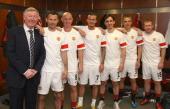 Sir Alex Ferguson Ryan Giggs Nicky Butt David Beckham Gary Neville Phil Neville and Paul Scholes of Manchester United recreate the famous Class of...