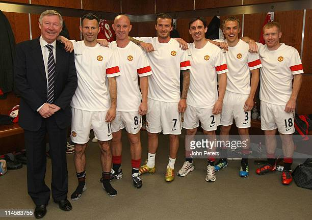 Sir Alex Ferguson Ryan Giggs Nicky Butt David Beckham Gary Neville Phil Neville and Paul Scholes of Manchester United recreate the famous Class of...