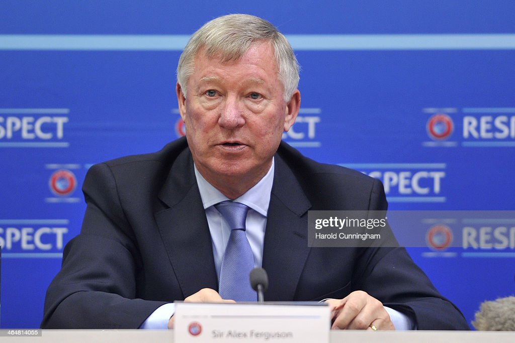 Sir <a gi-track='captionPersonalityLinkClicked' href=/galleries/search?phrase=Alex+Ferguson&family=editorial&specificpeople=203067 ng-click='$event.stopPropagation()'>Alex Ferguson</a> speaks during a press conference as he is appointed UEFA Coaching Ambassador at the UEFA headquarters, The House of European Football, on January 24, 2014 in Geneva, Switzerland.