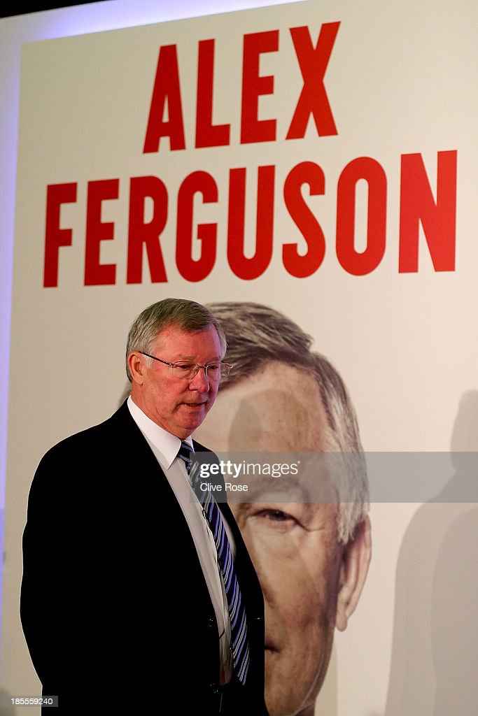 Sir Alex Ferguson speaks enters the press conference ahead of the publication of his autobiography at the Institute of Directors on October 22, 2013 in London, England.