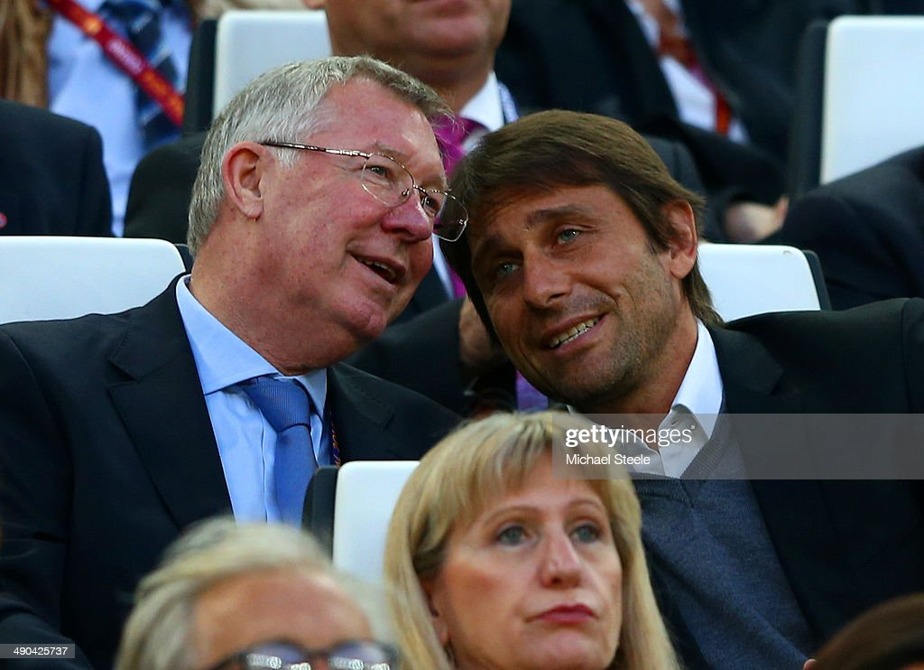 Sir <a gi-track='captionPersonalityLinkClicked' href=/galleries/search?phrase=Alex+Ferguson&family=editorial&specificpeople=203067 ng-click='$event.stopPropagation()'>Alex Ferguson</a> speaks with juventus manager <a gi-track='captionPersonalityLinkClicked' href=/galleries/search?phrase=Antonio+Conte&family=editorial&specificpeople=2379002 ng-click='$event.stopPropagation()'>Antonio Conte</a> during the UEFA Europa League Final match between Sevilla FC and SL Benfica at Juventus Stadium on May 14, 2014 in Turin, Italy.