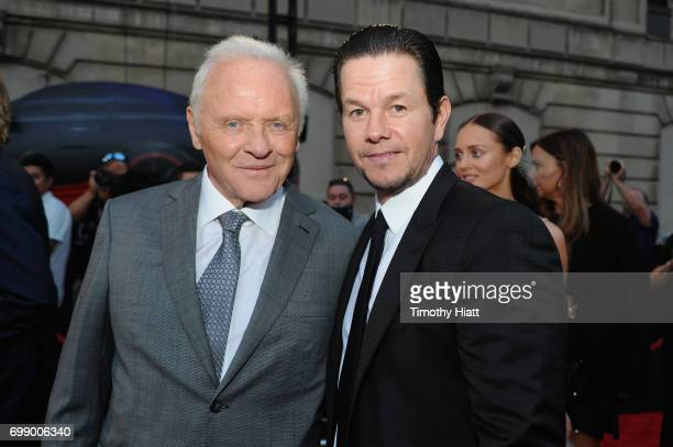 Sir Anthony Hopkins and Mark Wahlberg attend the US premiere of 'Transformers The Last Knight' at the Civic Opera House on June 20 2017 in Chicago...