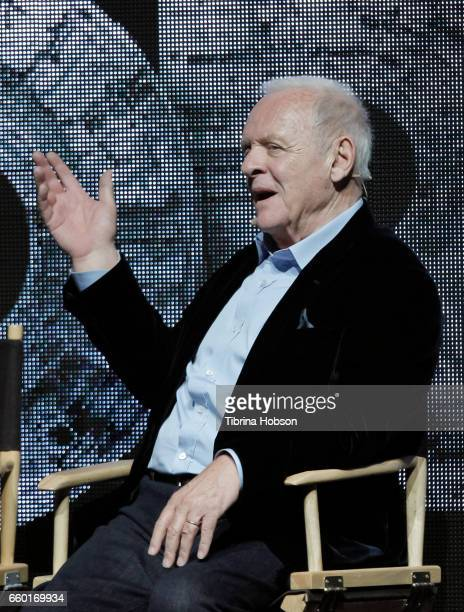 Sir Anthony Hopkins speaks at Paramount Pictures' presentation highlighting its 2017 summer and beyond during CinemaCon at The Colosseum at Caesars...