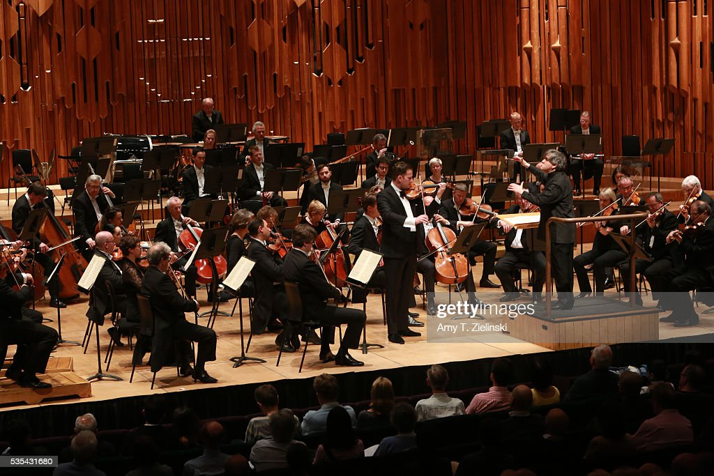 Sir Antonio Pappano conducts the London Symphony Orchestra in the Beethoven Violin Concerto with soloist violinist Nikolaj Znaider at Barbican Centre on May 29, 2016 in London, England.