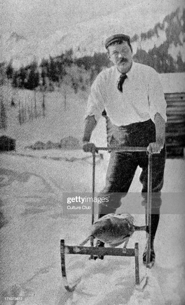 Sir <a gi-track='captionPersonalityLinkClicked' href=/galleries/search?phrase=Arthur+Conan+Doyle&family=editorial&specificpeople=203200 ng-click='$event.stopPropagation()'>Arthur Conan Doyle</a> in the Swiss Alps. Caption reads: 'The running wolf - Sir A. Conan Doyle testing a Norwegian snow apparatus in the Engadine'. Scottish author and creator of Sherlock Holmes, 22 May 1859 – 7 July 1930.