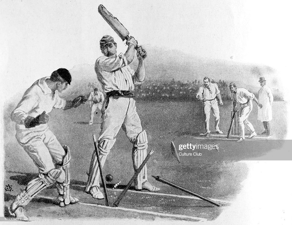 Sir <a gi-track='captionPersonalityLinkClicked' href=/galleries/search?phrase=Arthur+Conan+Doyle&family=editorial&specificpeople=203200 ng-click='$event.stopPropagation()'>Arthur Conan Doyle</a> playing cricket, bowled out by A P Lucas. Scottish author and creator of Sherlock Holmes, 22 May 1859 – 7 July 1930. Caption reads: 'Sir A. Conan Doyle at the wicket - bowled by A. P. Lucas'.