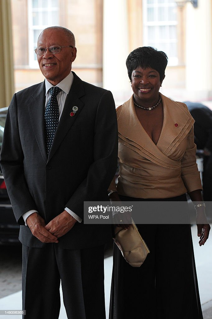 Sir Arthur Foulkes, the Governor General of The Bahamas and his wife Joan Eleanor Foulkes, arrive for a London 2012 Olympic Games reception, hosted by Britain's Queen Elizabeth II, at Buckingham Palace on July 27, 2012 in London, England.