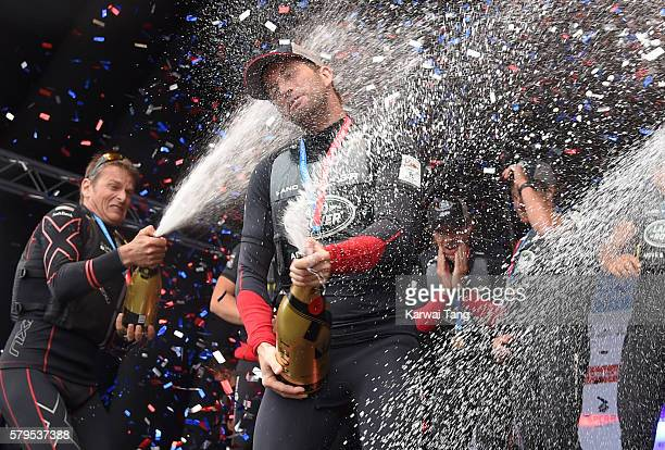 Sir Ben Ainslie celebrates after the Land Rover BAR team wins the America's Cup 2016 at the America's Cup World Series at the Race Village on July 24...