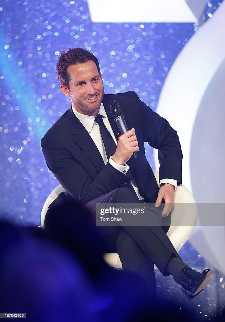 Sir Ben Ainslie of Great Britain talks on stage during the British Olympic Ball at The Dorchester on October 30, 2013 in London, England.