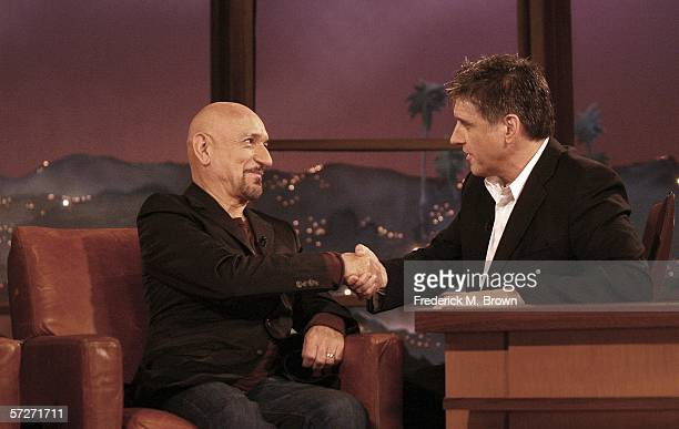 Sir Ben Kingsley and host Craig Ferguson speak during segment of The Late Late Show With Craig Ferguson at CBS Television Studios on April 6 2006 in...