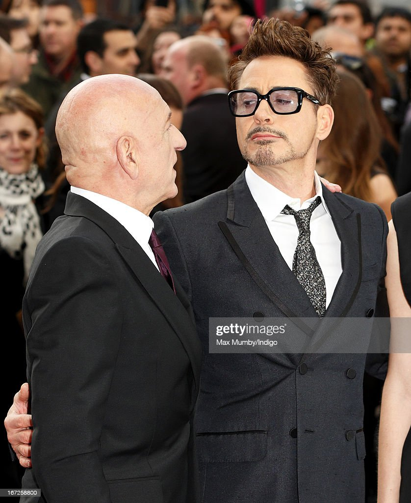 Sir Ben Kingsley and Robert Downey Jr attend a special screening of 'Iron Man 3' at Odeon Leicester Square on April 18, 2013 in London, England.
