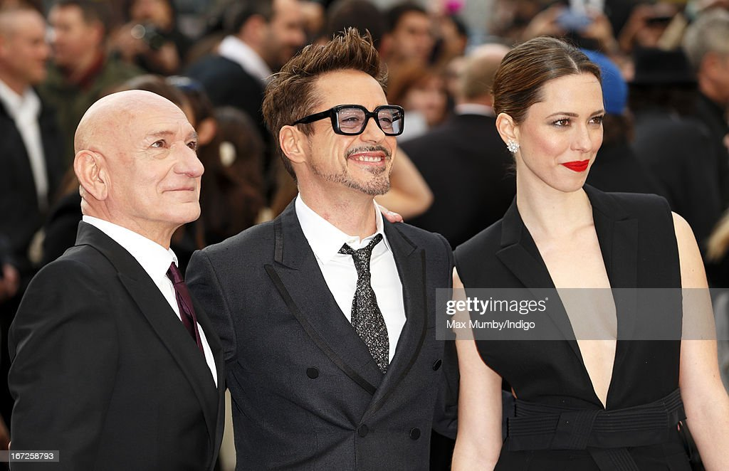 Sir Ben Kingsley, Robert Downey Jr and Rebecca Hall attend a special screening of 'Iron Man 3' at Odeon Leicester Square on April 18, 2013 in London, England.
