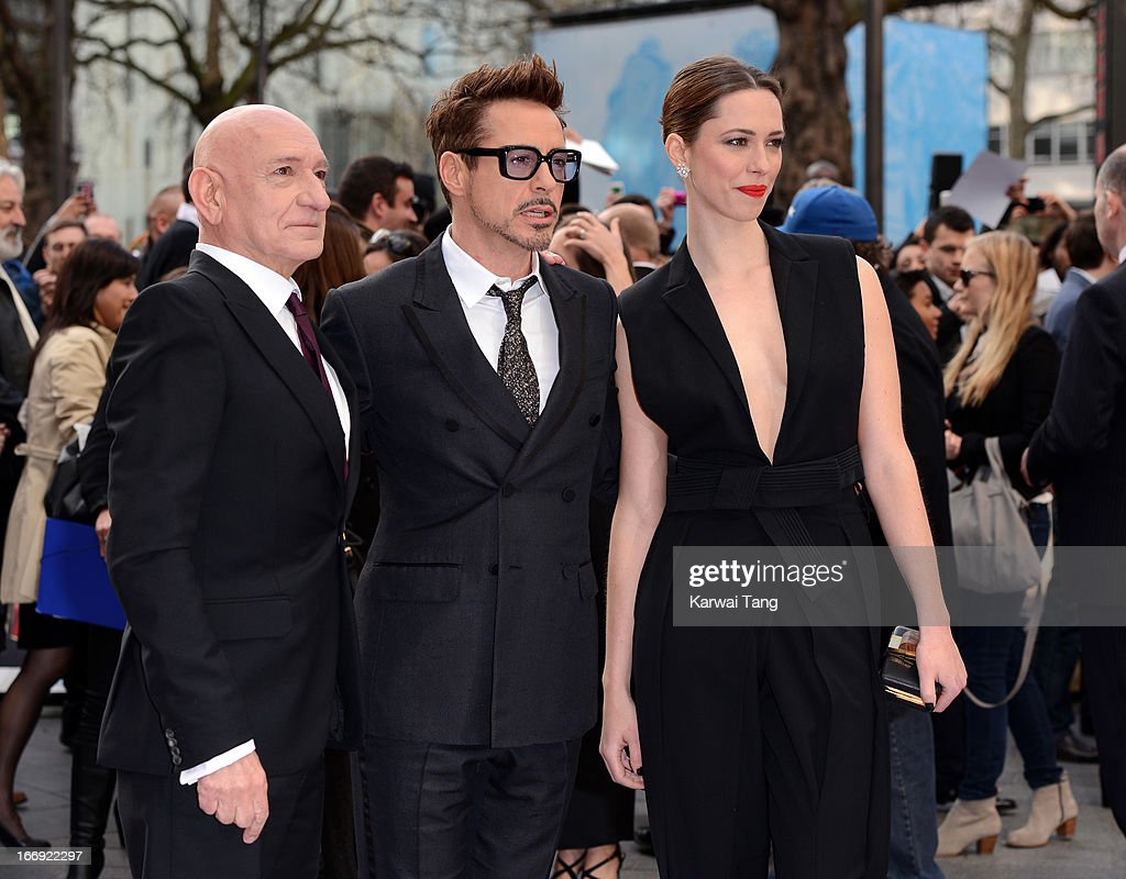 Sir Ben Kingsley, Robert Downey Jr and Rebecca Hall attends a special screening of 'Iron Man 3' at Odeon Leicester Square on April 18, 2013 in London, England.