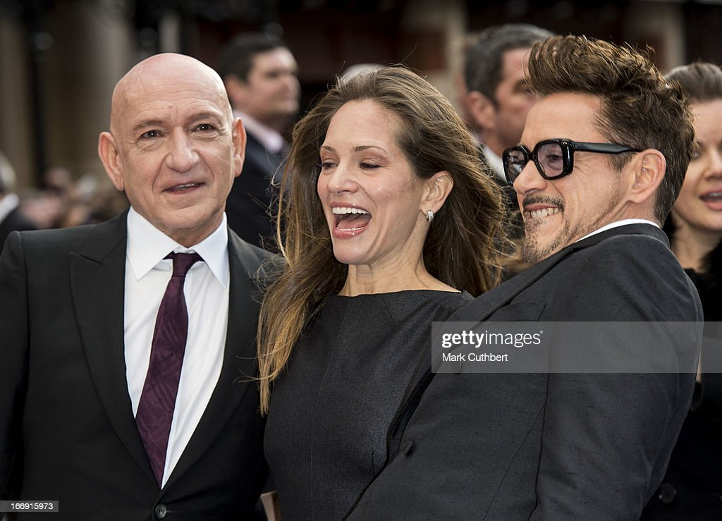 Sir Ben Kingsley, Susan Downey and Robert Downey Jr attend a special screening of 'Iron Man 3' at Odeon Leicester Square on April 18, 2013 in London, England.