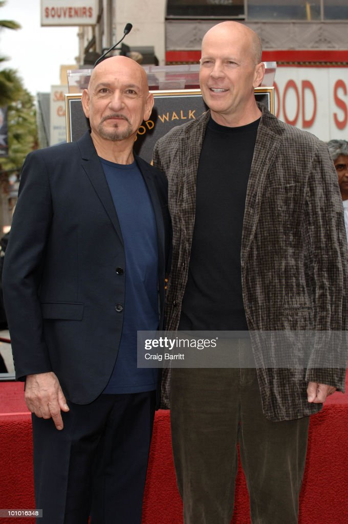 Sir Ben Kingsley with Bruce Willis after being honored with a star on the Hollywood Walk Of Fame on May 27, 2010 in Hollywood, California.