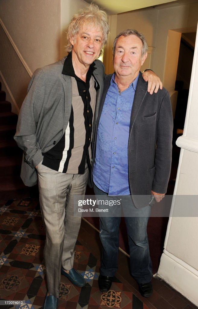 <a gi-track='captionPersonalityLinkClicked' href=/galleries/search?phrase=Sir+Bob+Geldof&family=editorial&specificpeople=204423 ng-click='$event.stopPropagation()'>Sir Bob Geldof</a> (L) and <a gi-track='captionPersonalityLinkClicked' href=/galleries/search?phrase=Nick+Mason&family=editorial&specificpeople=221394 ng-click='$event.stopPropagation()'>Nick Mason</a> attend the launch of Nicky Haslam's new album 'Midnight Matinee' on July 1, 2013 in London, England.