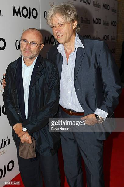 Sir Bob Geldof and Phil Collins attend the Glenfiddich Mojo Honours List 2011 at The Brewery on July 21 2011 in London England