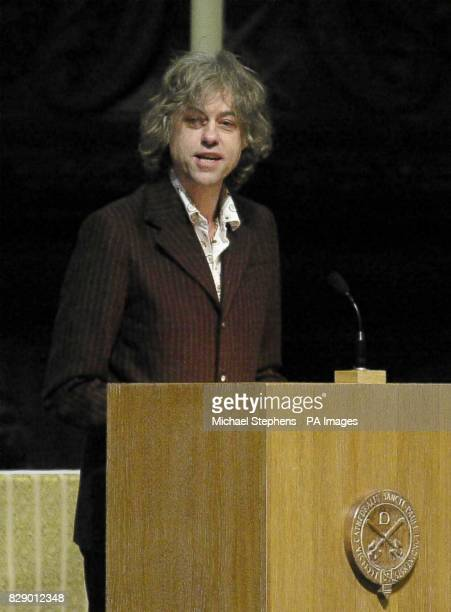 Sir Bob Geldof delivers an address on the state of poverty in Africa at the biannual lecture of the Bar Human Rights Committee of England at St...