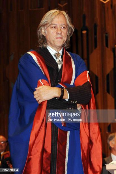 Sir Bob Geldof is awarded Honorary Doctorate by the University of East London at the Barbican Centre in east London