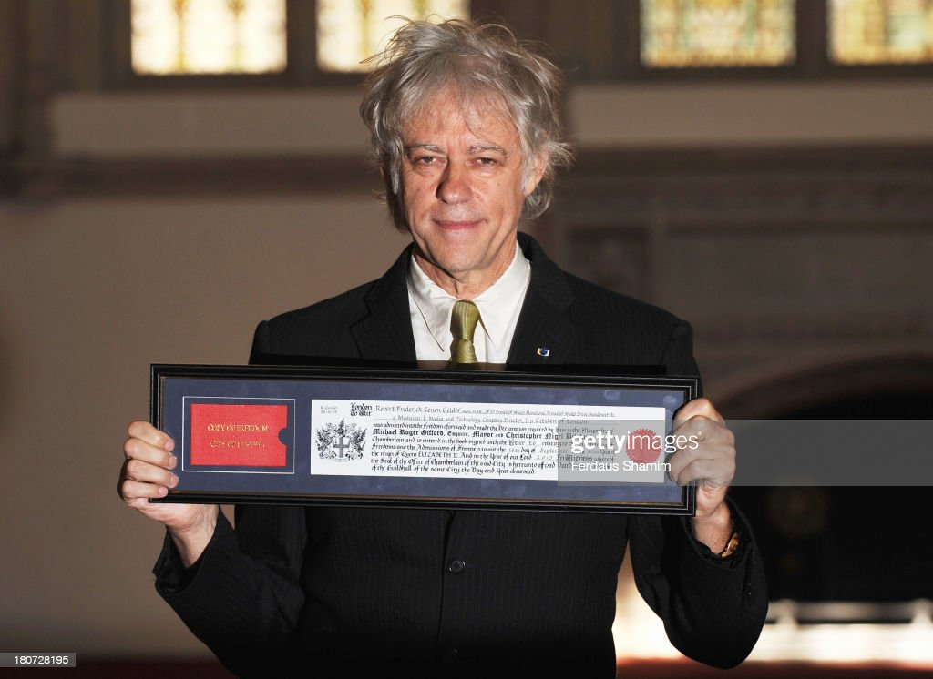 Sir Bob Geldof is awarded the Freedom of the City of London at The Guildhall on September 16, 2013 in London, England.