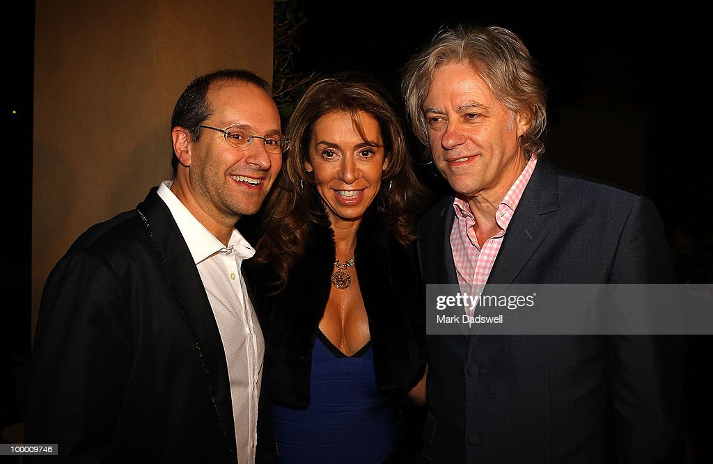 Sir Bob Geldof is greeted by Heloise and Alex Waislitz at the Pratt Foundation's 'An Intimate Evening with Sir Bob Geldof' in support of St Vincent's Cancer Center on May 20, 2010 in Melbourne, Australia.