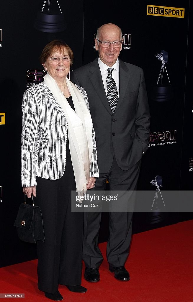 Sir Bobby Charlton and his wife Norma attend the awards ceremony for the BBC Sports Personality of the Year 2011 at mediacity:uk on December 22, 2011 in Manchester, England.