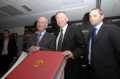 Sir Bobby Charlton and Sir Alex Ferguson and guest
