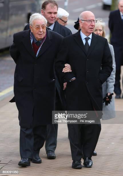 Sir Bobby Charlton arrives with Doug Ellis for the funeral of Sir Tom Finney at St Johns Parish Church Preston