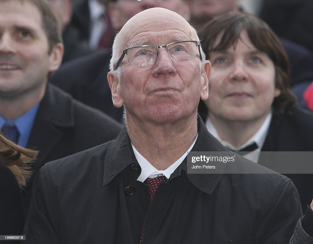 Sir Bobby Charlton attends the unveiling of a statue of Manager Sir Alex Ferguson of Manchester United at Old Trafford on November 23, 2012 in Manchester, England.