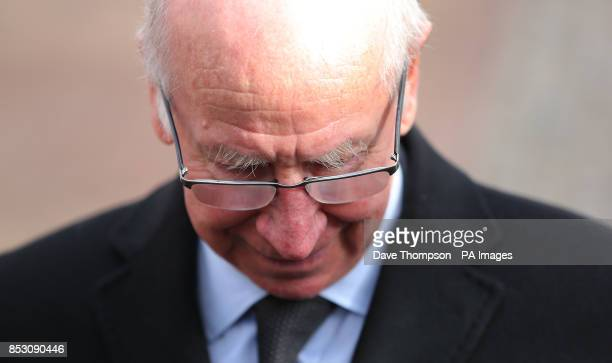Sir Bobby Charlton bows his head as he arrives for the funeral of Sir Tom Finney at St Johns Parish Church Preston