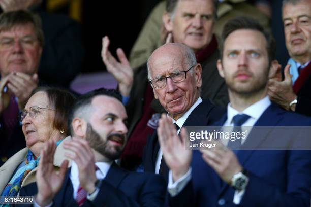 Sir Bobby Charlton looks on before the Premier League match between Burnley and Manchester United at Turf Moor on April 23 2017 in Burnley England