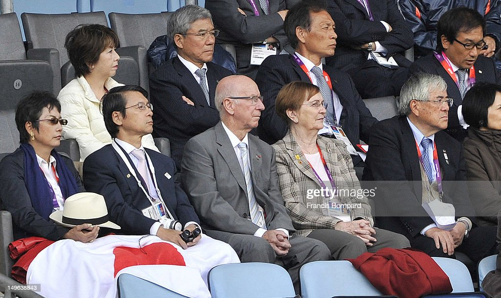 Sir Bobby Charlton looks on during the Men's Football first round Group D Match between Japan and Honduras, on Day 5 of the London 2012 Olympic Games at City of Coventry Stadium on August 1, 2012 in Coventry, England.